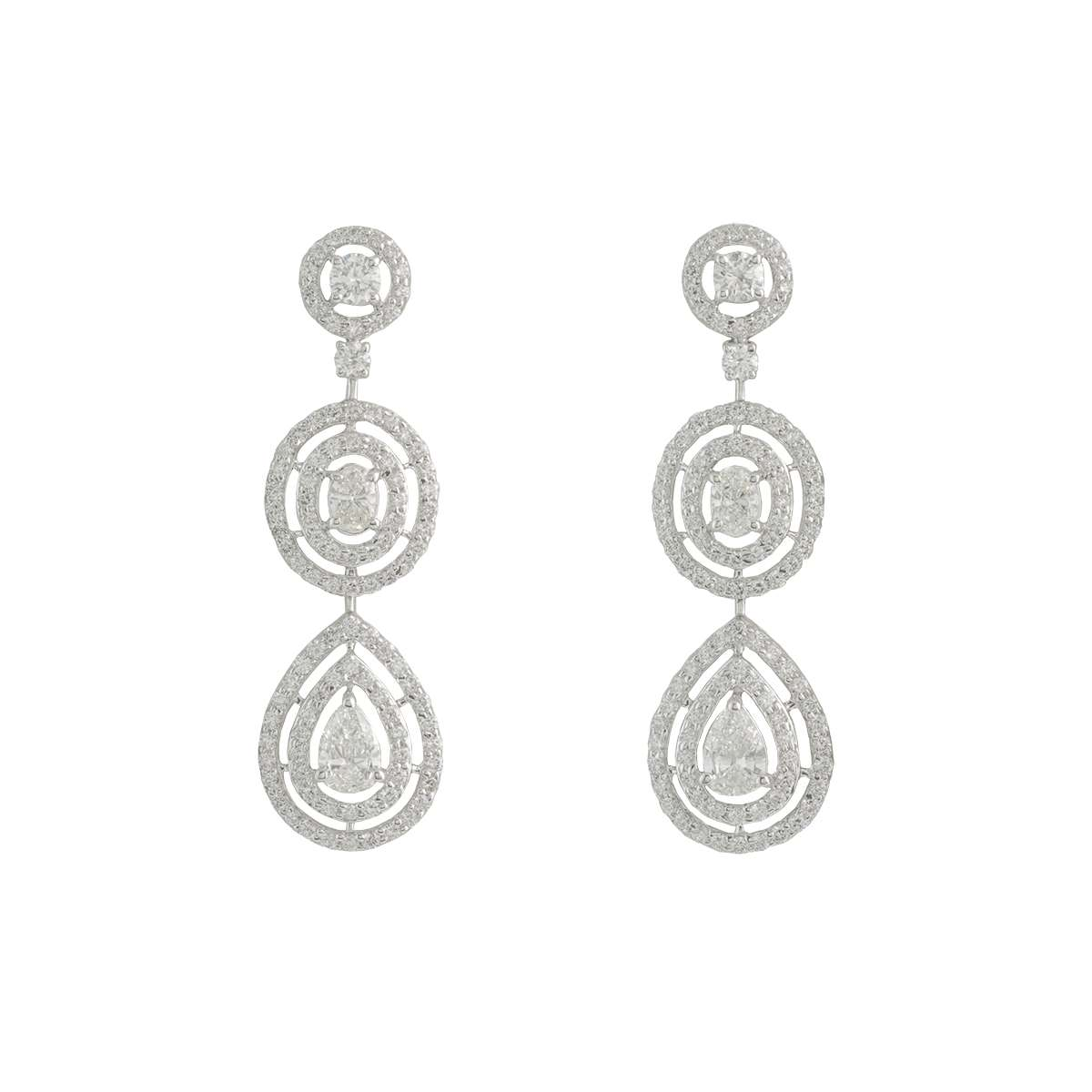 White Gold Diamond Drop Earrings 3.97ct G-H/VS